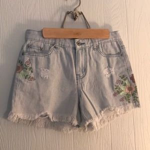Boutique Denim Shorts Embroidered Flowers S